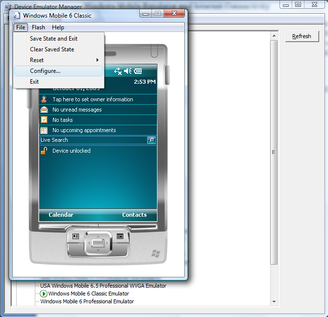 windows mobile 6.5 emulator internet connection