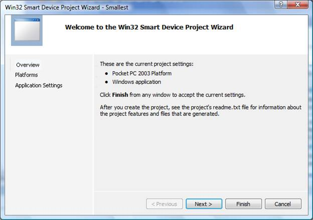 Picture 3. Smart Device Project Wizard.