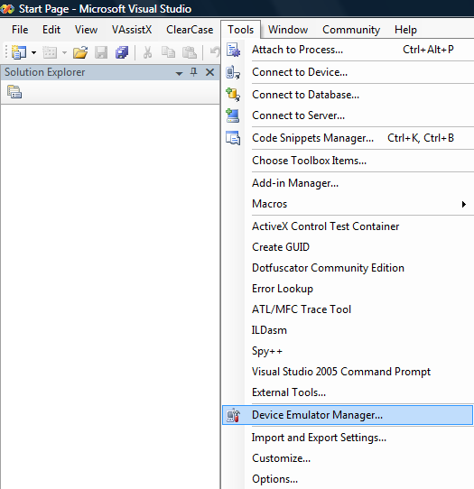 Picture 1. Launch Device Emulator Manager in VS 2005