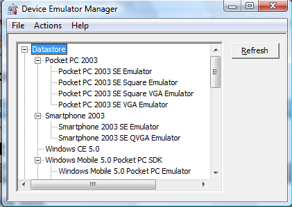 Picture 2. Device Emulator Manager.