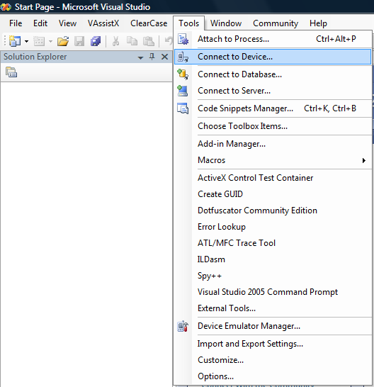 "Picture 3. ""Connect To Device"" menu item in VS 2005."