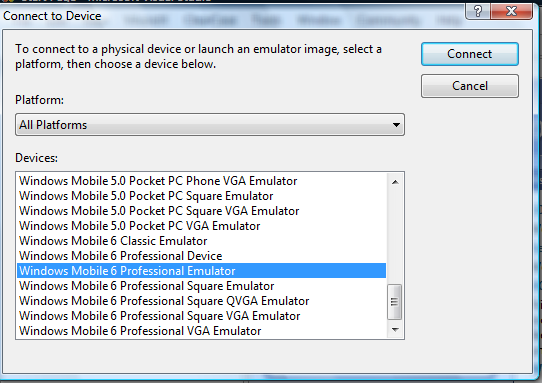 "Picture 4. ""Connect To Device"" list."