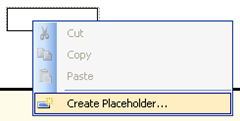 SSRS 2008 Create Placeholder menu item