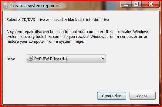 Create a System Repair Disk