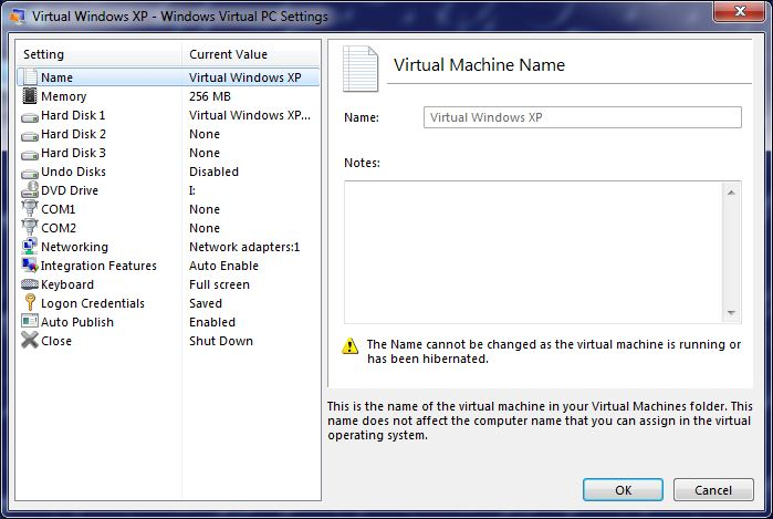 Virtual Windows XP settings