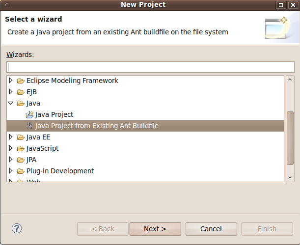 Select New Project Type Dialog