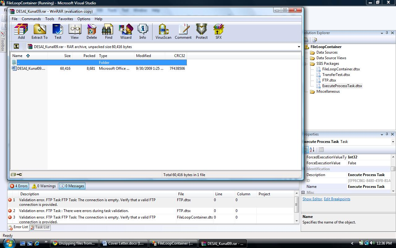 Unzipping files from SSIS