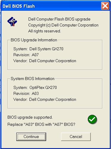 BIOS update on Dell Optiplex fails