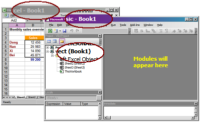 VB Editor opened from Excel
