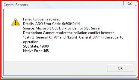 SQL Collation Error