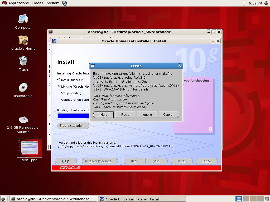 Error in installation of Oracle 10g in RHEL 5 2 64 bit OS