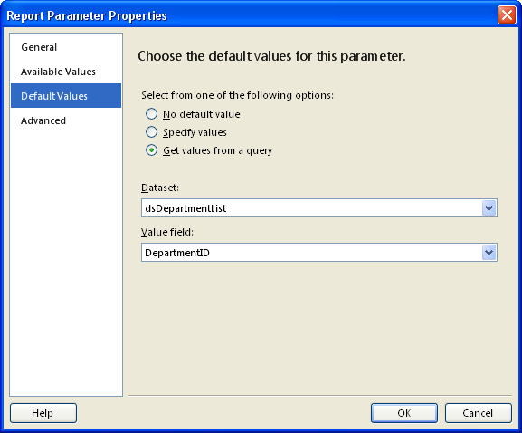 Report Parameter Properties - Default Values