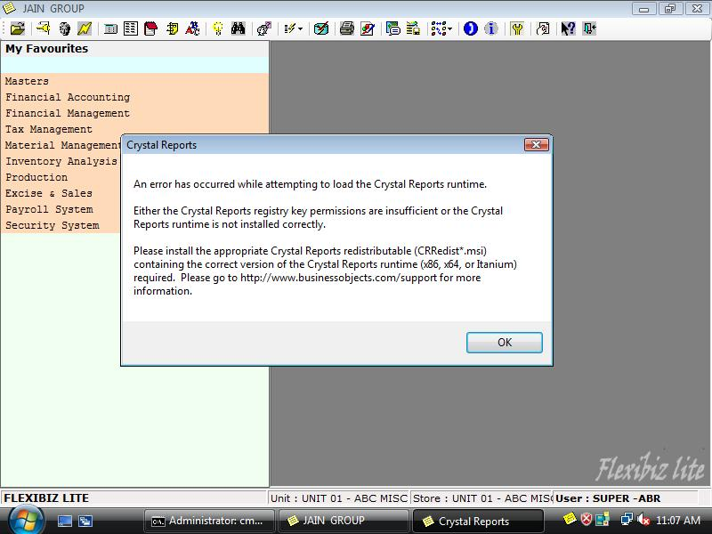 VB net application with Crystal Reports on Vista 64 Bit