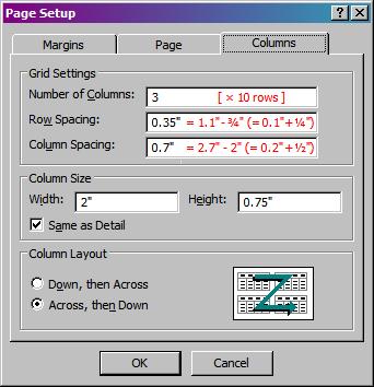 report page setup -- columns