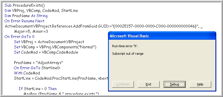Using Vba And Word How Can I Find Out Whether A Subroutine Exists