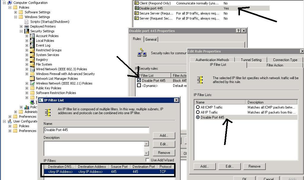 Disable TCP port 445 ! VIP
