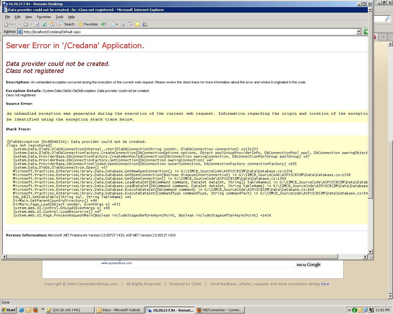 IIS ASPX Error - Data Provider Could Not Be Created  Class