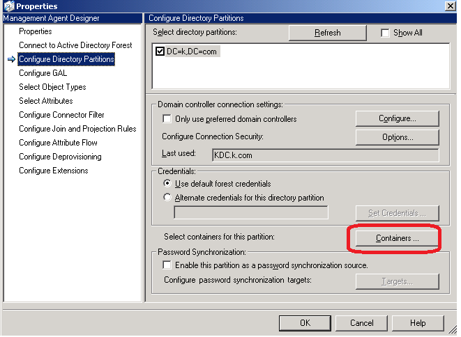 Configure Directory Partition