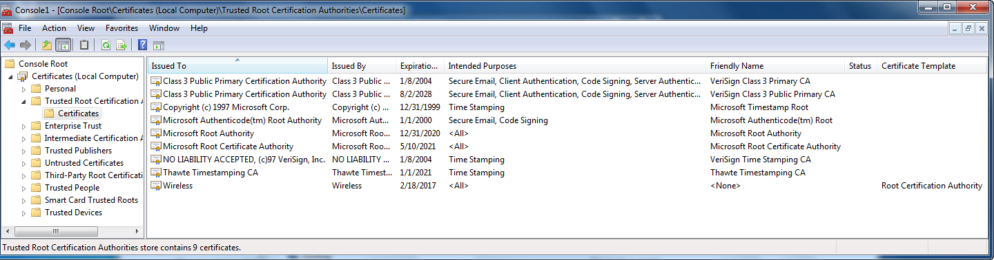 Root Certificate In Windows 7 Does Not Have All Certificates