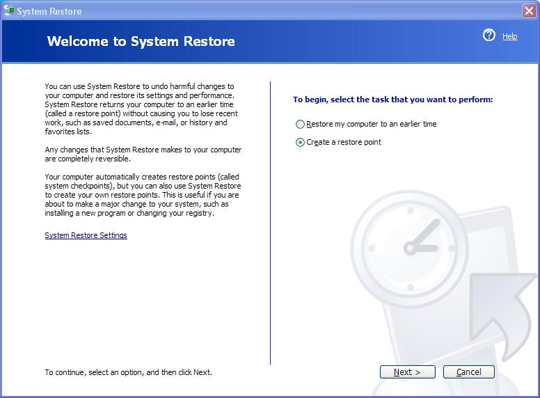 System restore tool dialog