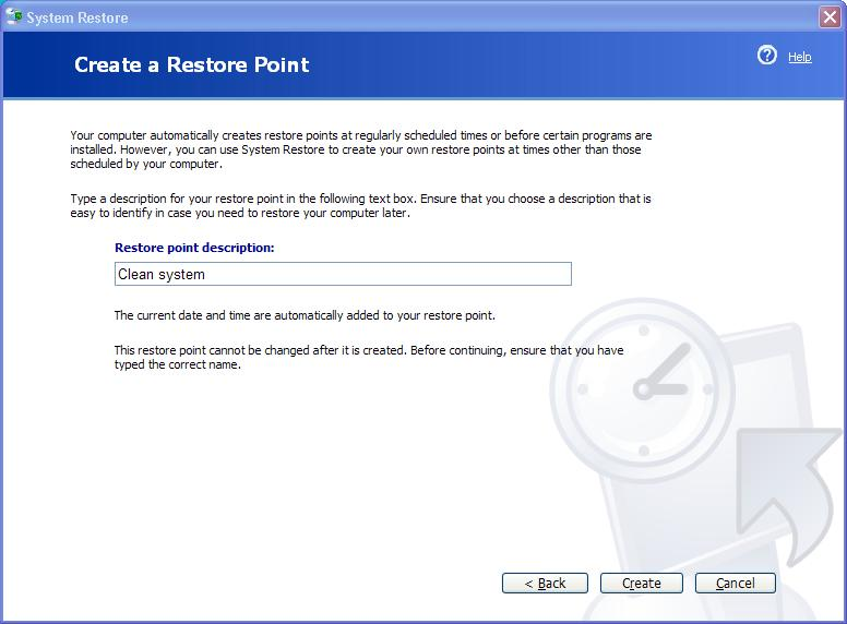 system restore tool - name restore point