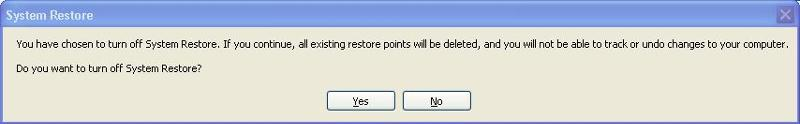 turn off system restore dialog box