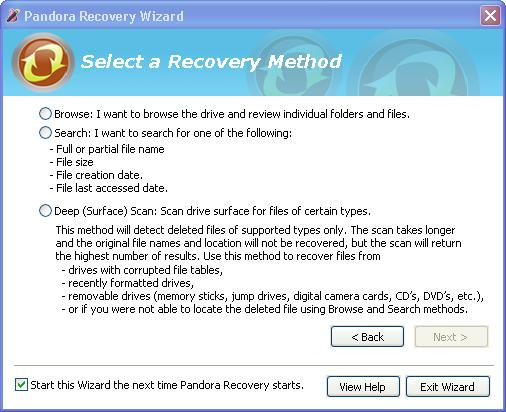 Pandora Recovery With Wizard Step 2