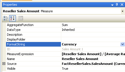 Properties of the Reseller Sales Amount measure showing Currency as format string