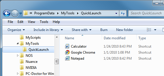 Create a folder to hold the tools