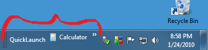 Add Toolbar... (goes to right-hand side of taskbar)
