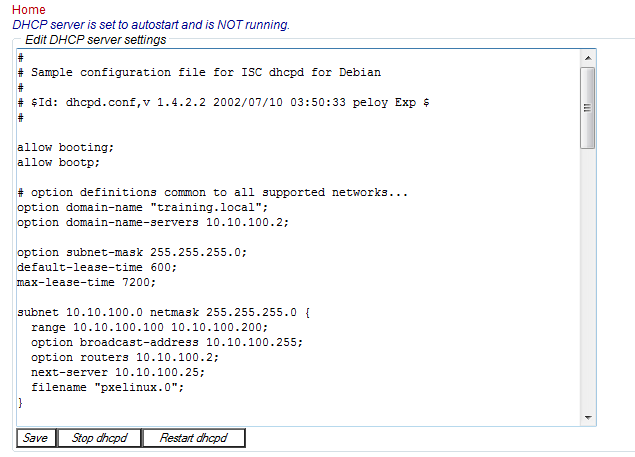 EDA DHCP setting