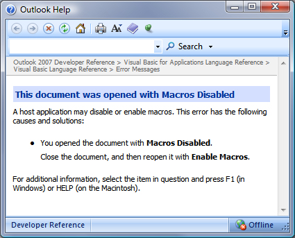 How do I enable macros in Outlook 2007?