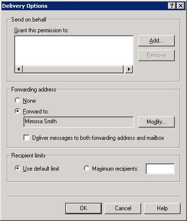 Internal forwarding to an internal mailbox (configured)