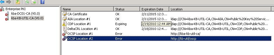 Can not get my Root CA to issue Certs