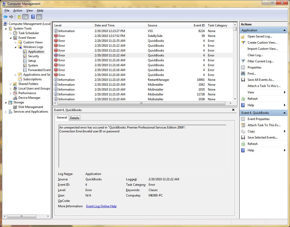 quickbooks event log error - event id 4