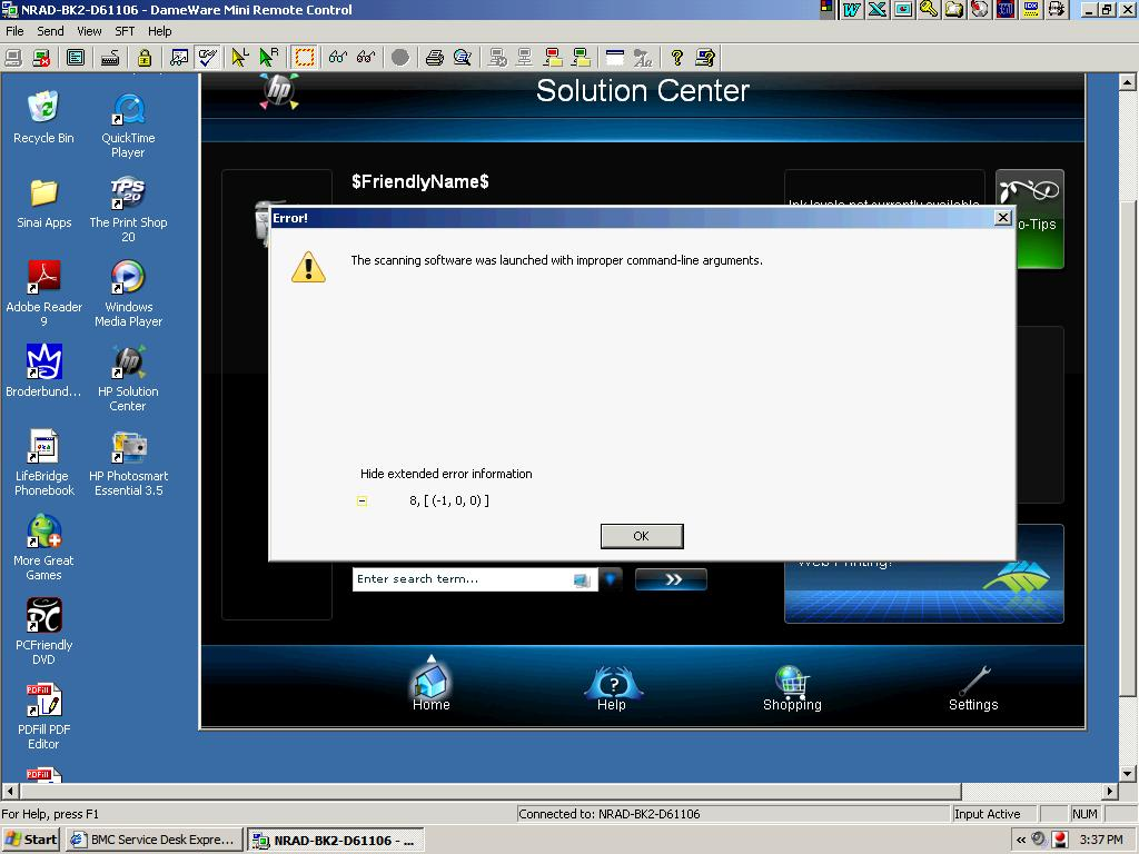 scanjet HP 5590 Error after installation, 'The scanning