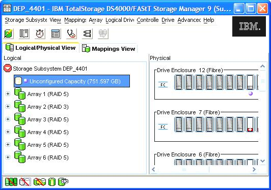 Storage Managager Subsystem window