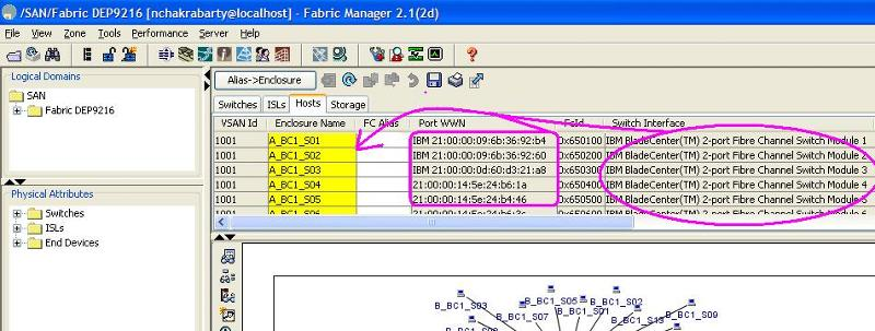 Cisco Fabric Manager and WWNs