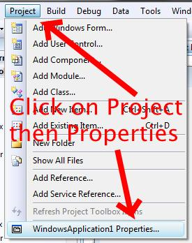 Click on Project --> Properties