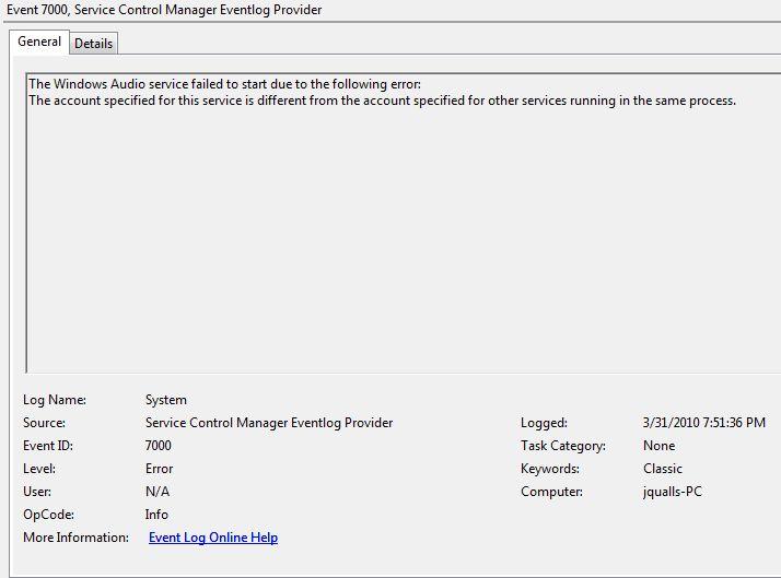 Windows Audio will not start