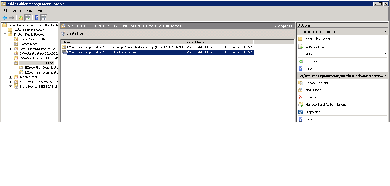error updating public folder with free busy information on virtual machine 2007