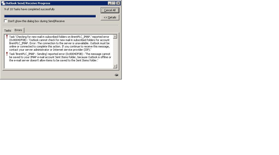 Outlook 2007 IMAP Profile Goes Offline For No Apparent