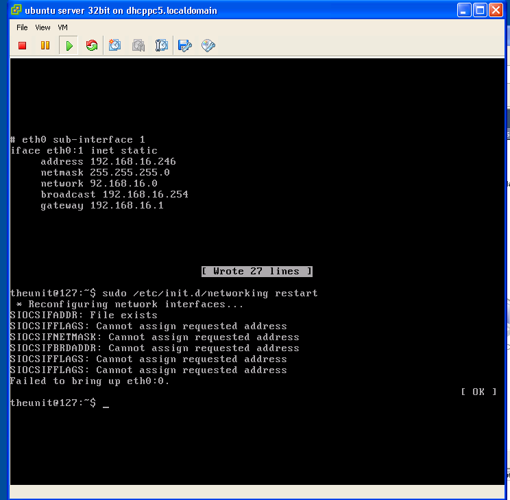 esxi 4 with an ubuntu vm and a virtual web server setup in