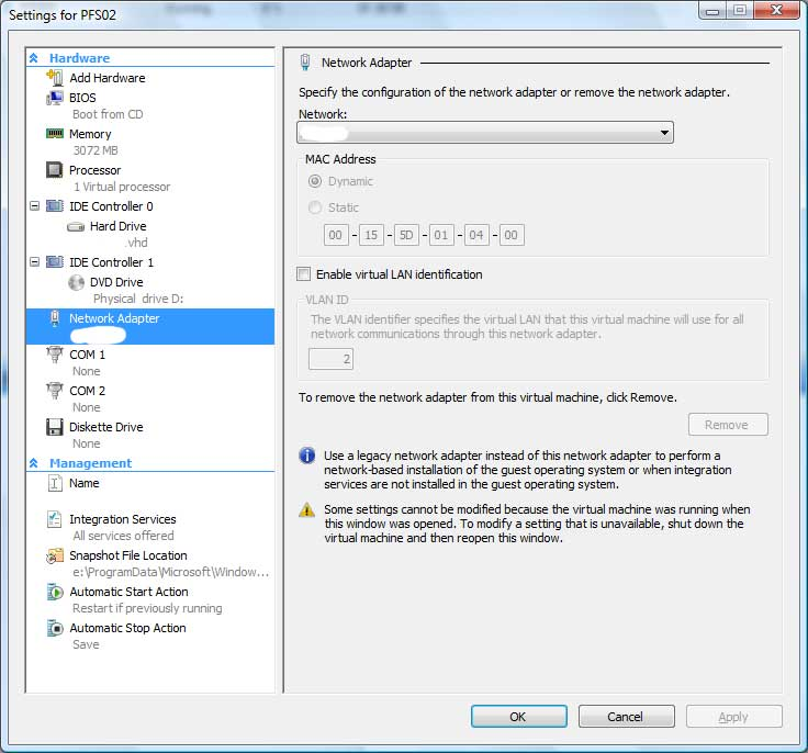 Problems with Virtual Network Configuration in Hyper-V