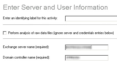Enter Exchange and Domain Controller information