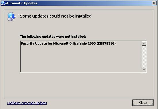 Visio 2003 Fails to Update