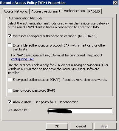 setup TMG 2010 remote access VPN, have fowarded ports from router