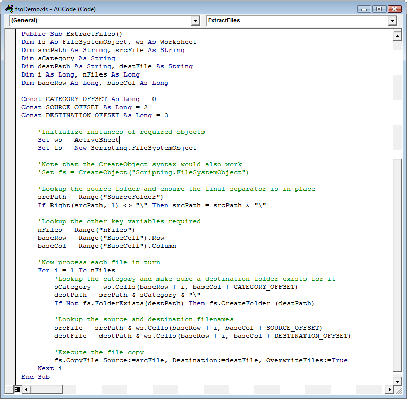Screenshot showing the main procedure code