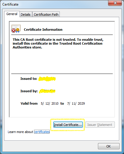 Install Certificate - General