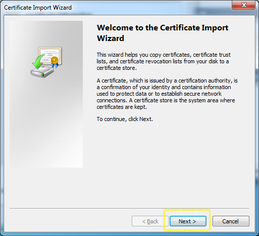 Certificate Import - Welcome